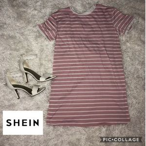 Pink Striped T-shirt Dress